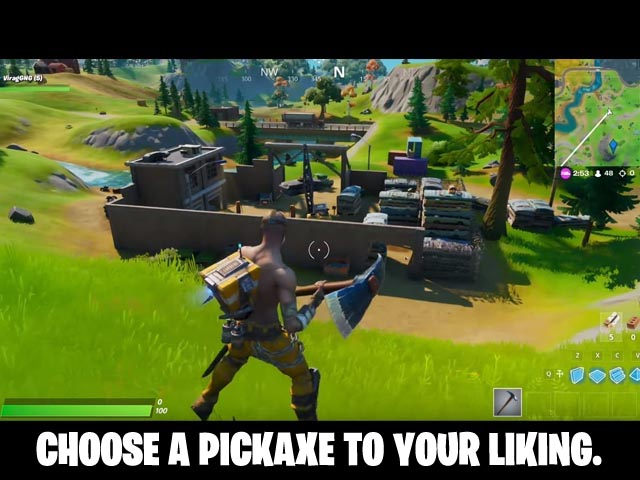 Fortnite Screenshot and Hint 3. Choose a pickaxe to your liking!