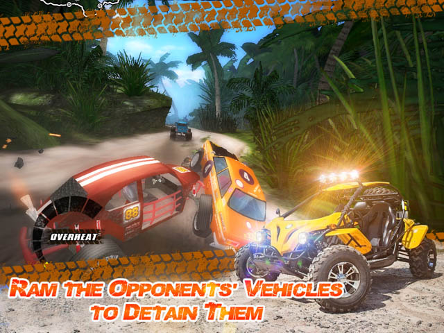 Jungle Racers Advanced Screenshot and Hint 2. Ram the Opponents' Vehicles to Detain Them!
