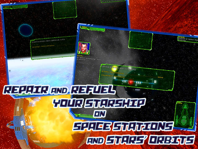 Star Interceptor Screenshot and Hint 3. Repair and Refuel Your Starship on Space Stations and Stars' Orbits!