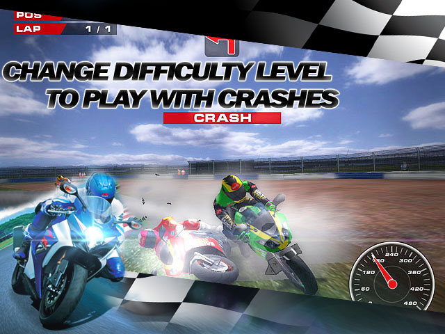 Super Bikes Race Screenshot and Hint 2. Change difficulty level to play with crashes!