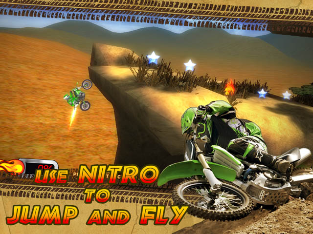 Trial Motorbikes Savanna Stars Screenshot and Hint 3. Use Nitro to Jump and Fly over Obstacles!